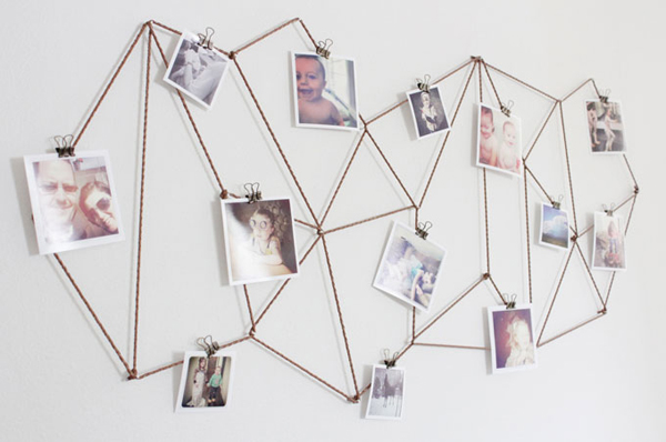 Diy Photo Collage Geometric String Home Design And Interior