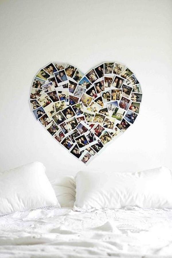 diy polaroid picture collage in dorm room