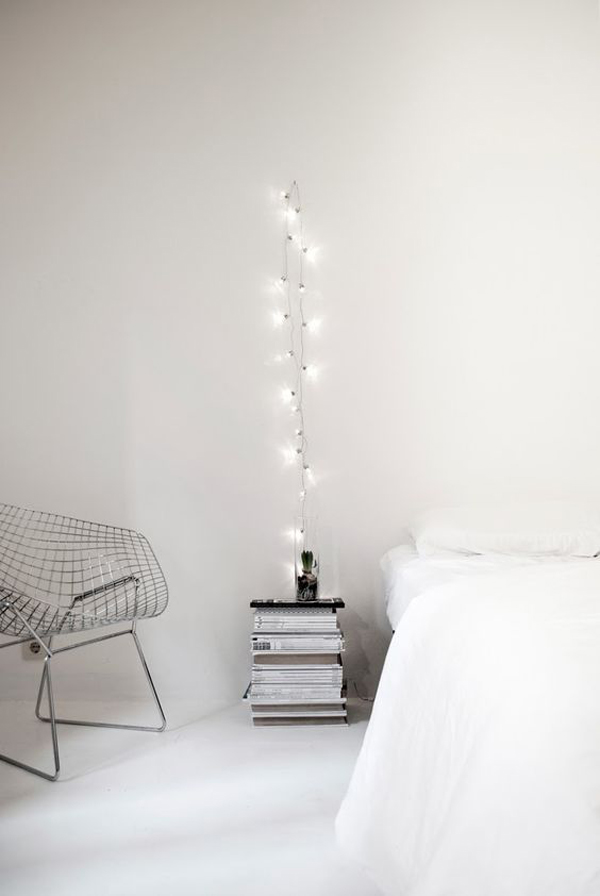 Diy simple white bedroom string lights for Home decor ideas string lights