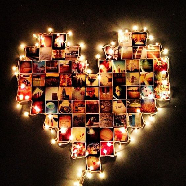 Heart Photo Collage Lighting Ideas