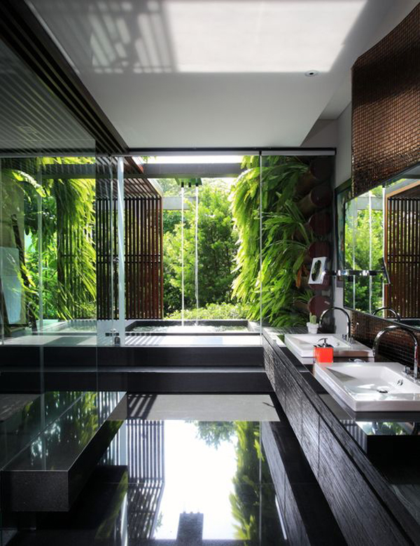 25 tropical nature bathrooms to get inspired home design for Indoor outdoor bathroom design ideas