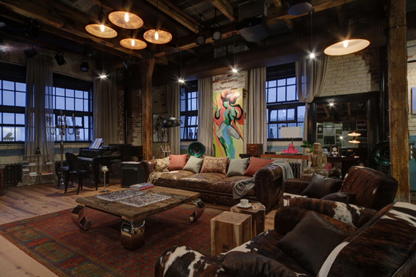 Industrial bachelor pad loft design in russian home for Living room designs for bachelors
