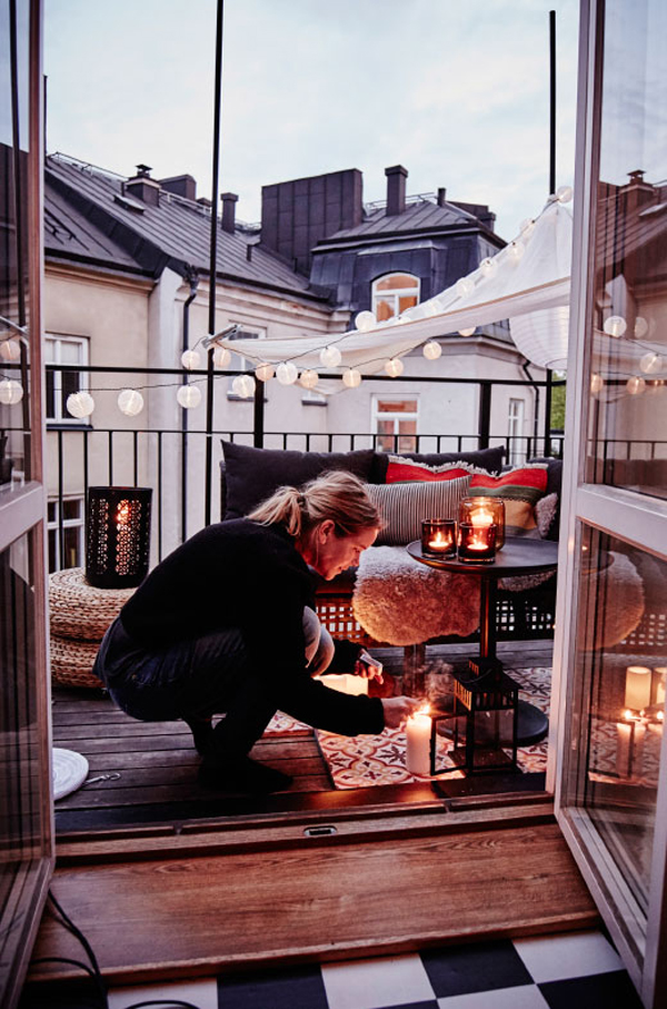 Ikea small balcony ideas for autumn home design and interior - Decoration petit balcon ...