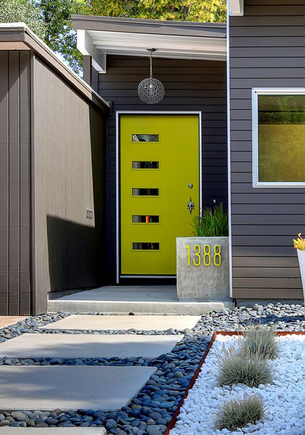25 modern front door with wood accents home design and for Modern house yellow