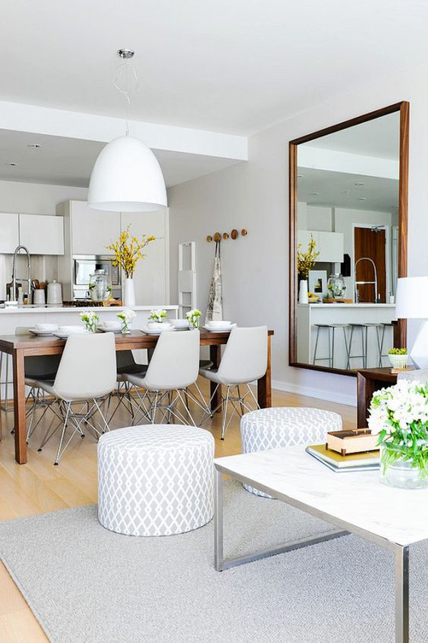 Oversized Mirror In Dining And Kitchen Area Homemydesign