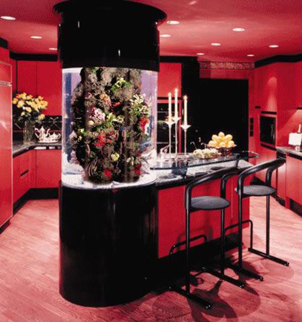 Interior Design Ideas For Home Theater: Red-kitchen-aquarium-table
