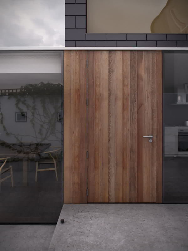 Wooden Front Door Glass House