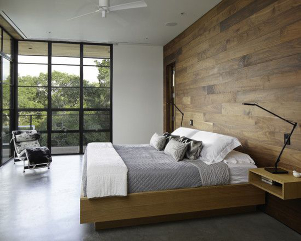 Interior Cool Modern Bedrooms cool modern bedroom with wood panel wall