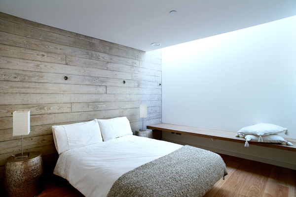 cute shared bedroom with wood paneling wall