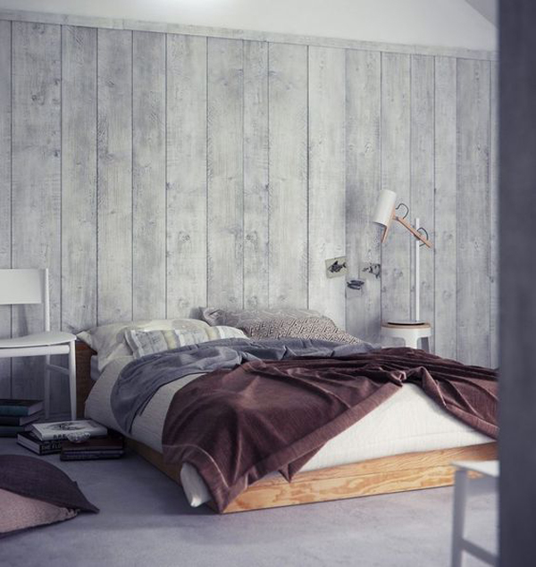 Grey wood panel bedroom walls for Bedroom ideas grey walls