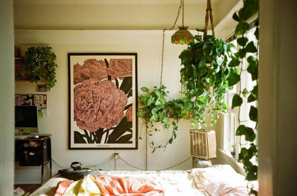 Loft-bedroom-with-hanging-plants