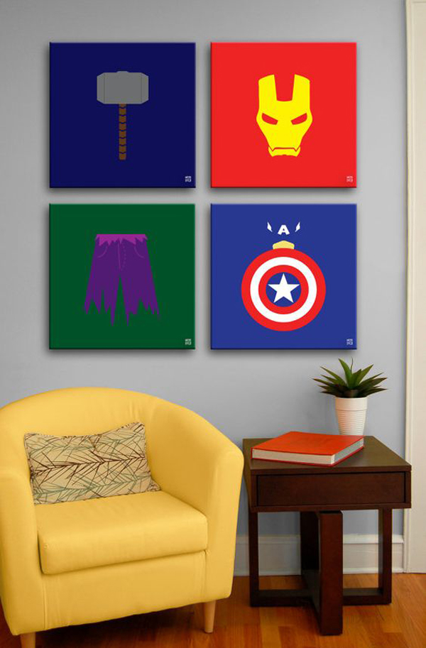 Minimalist the avengers painting wall art for Minimalist wall decor