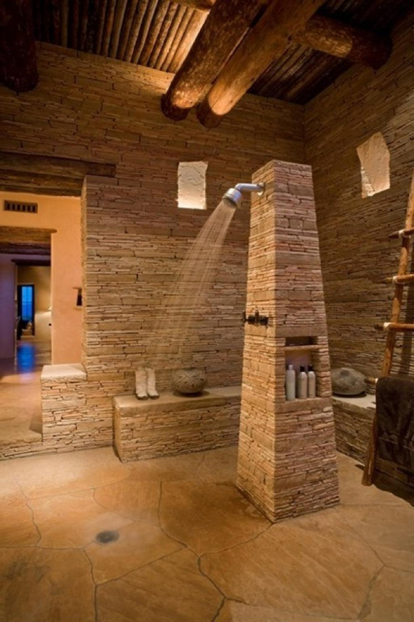 Natural bathroom with stone ideas for Bathroom designs natural