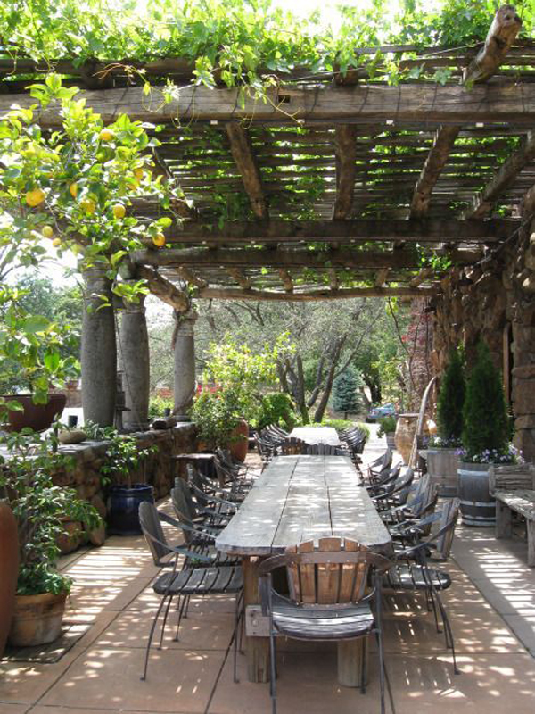 Outdoor Dining Area With Grape Arbor Garden