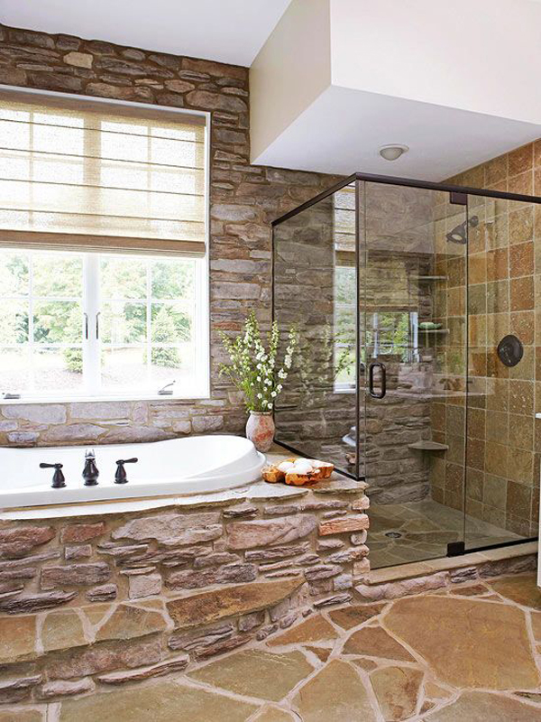 Rustic bathrooms with natural stone for Bathroom designs natural