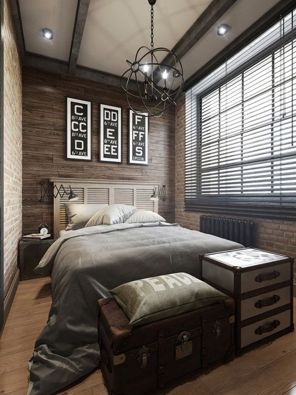 Wood paneling and brick bedrooms Brick wall bedroom design