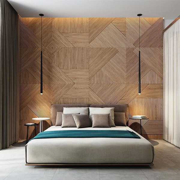 20 modern and creative bedroom design featuring wooden panel wall
