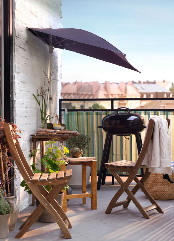 Balcony ikea furniture with barbecue