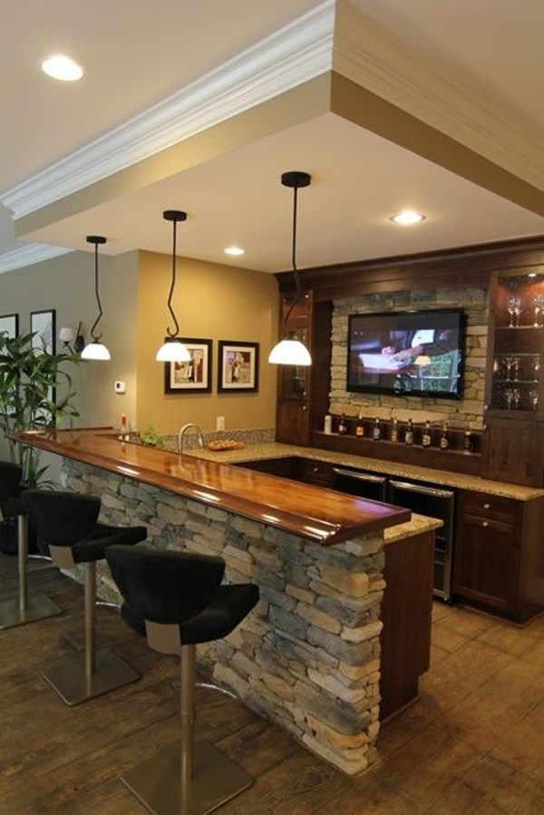 25 cool and masculine basement bar ideas home design and for Cool home bar designs