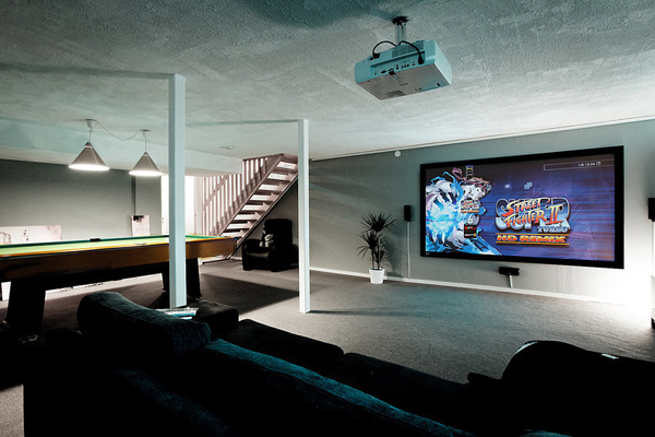 basement video game decor ideas. Black Bedroom Furniture Sets. Home Design Ideas