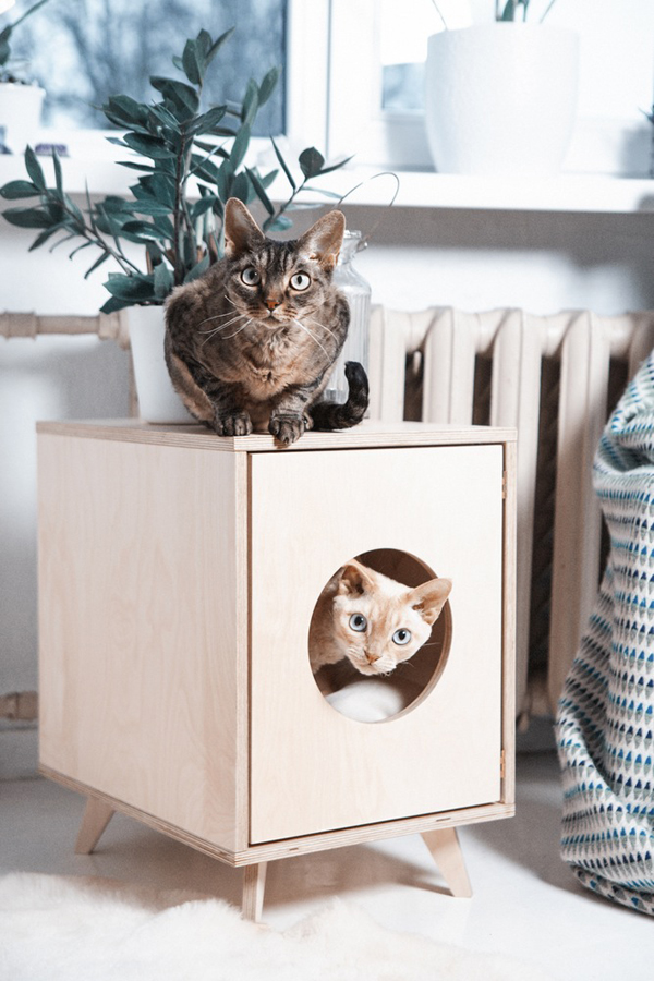 Beautiful Cat Litter Box With Scandinavian Style Home