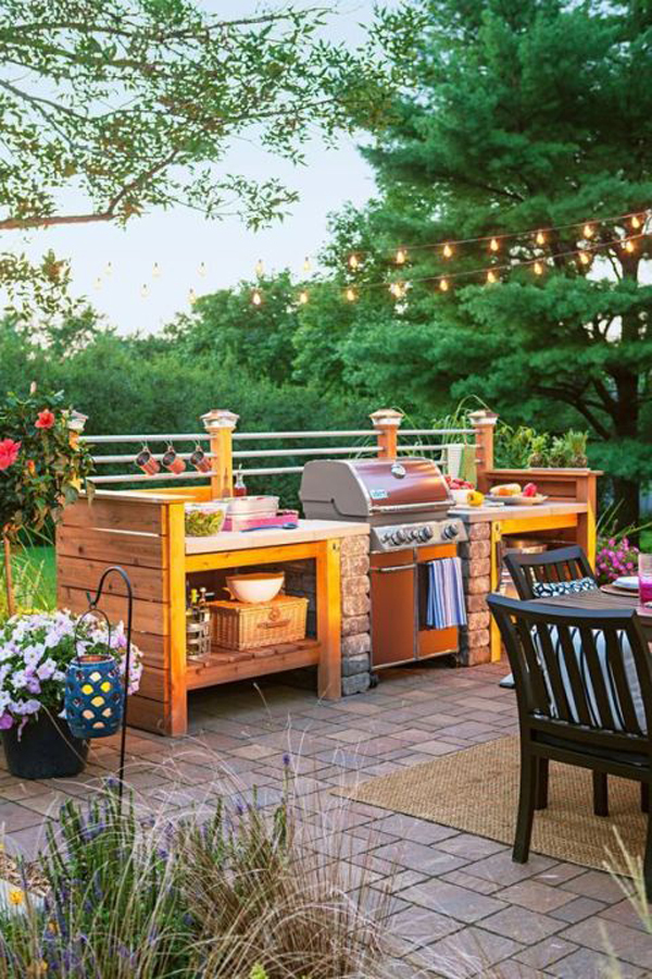 35 most awesome outdoor kitchens for summer home design for Outdoor kitchen without grill