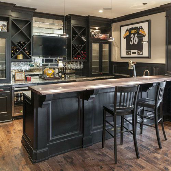 Home Design Basement Ideas: Dark-basement-bar-ideas