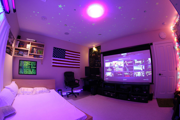 Dorm Video Game Room With American Flag