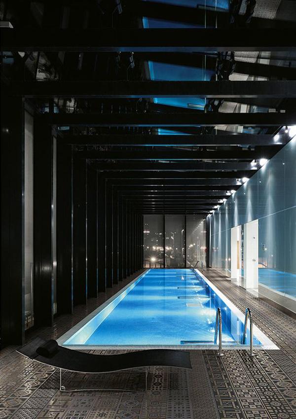indoor swimming pool in luxury apartment