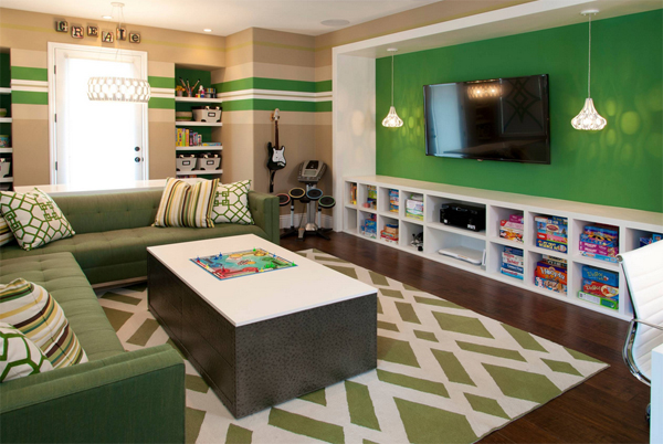 Kids gaming room with storage and organization - Graues zimmer ...