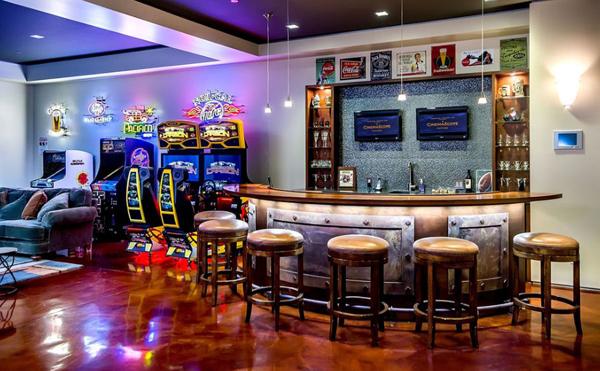 Modern Basement Bar With Arcade Room