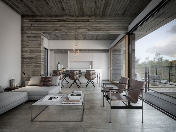 Modern House Interior With Nature View