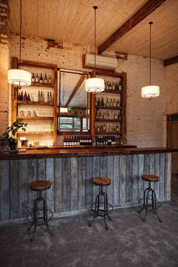 rustic wood basement bar decor