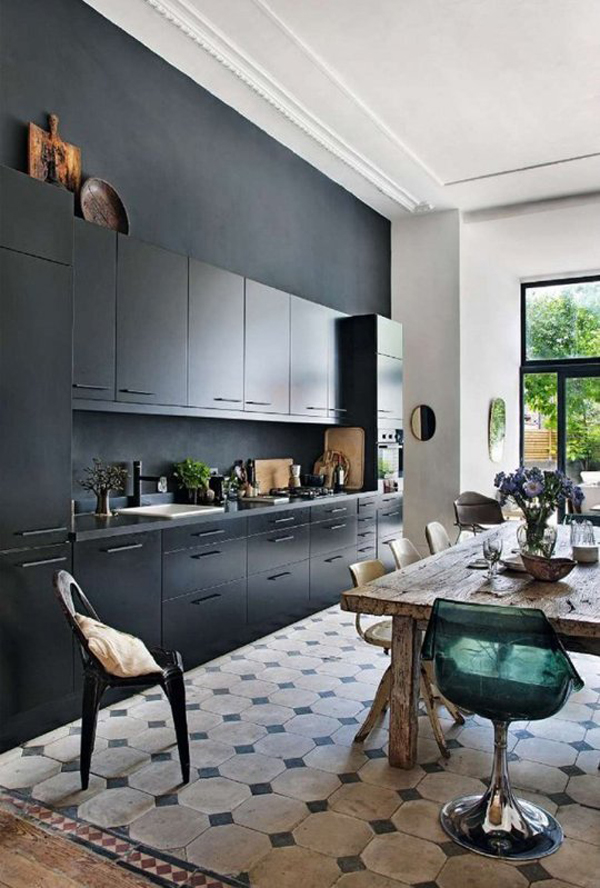 10 cool black kitchens for bachelor 39 s pad home design for Bachelor pad kitchen ideas