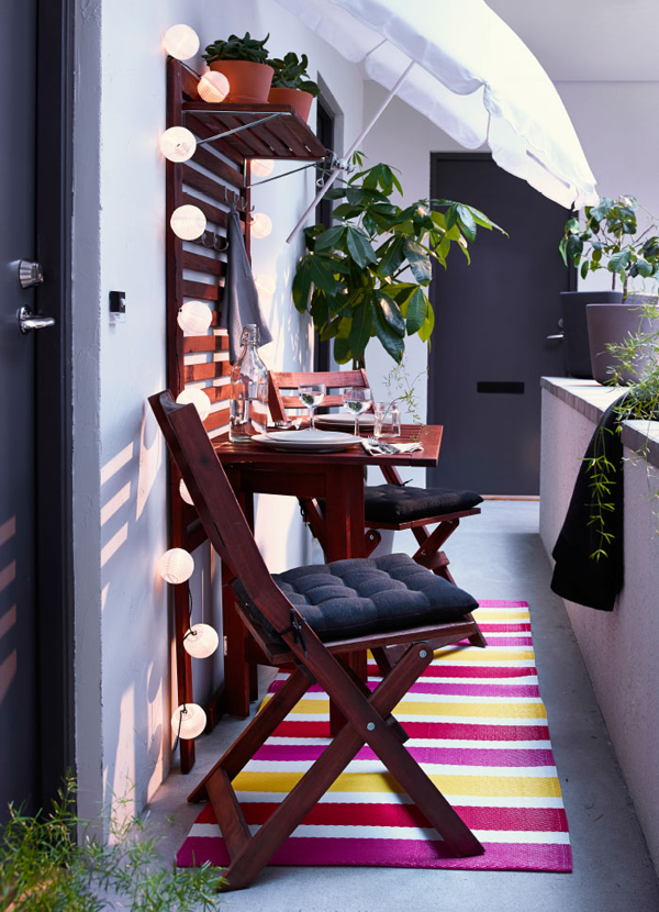 small ikea balcony with lighting ideas. Black Bedroom Furniture Sets. Home Design Ideas