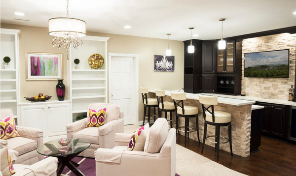 White And Warm Basement Bar Designs