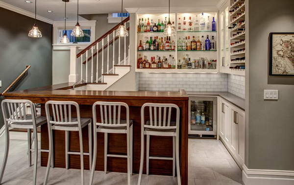 White Basement Bar With Wine Shelves Homemydesign