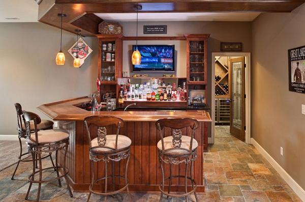 Wooden furniture basement bar designs