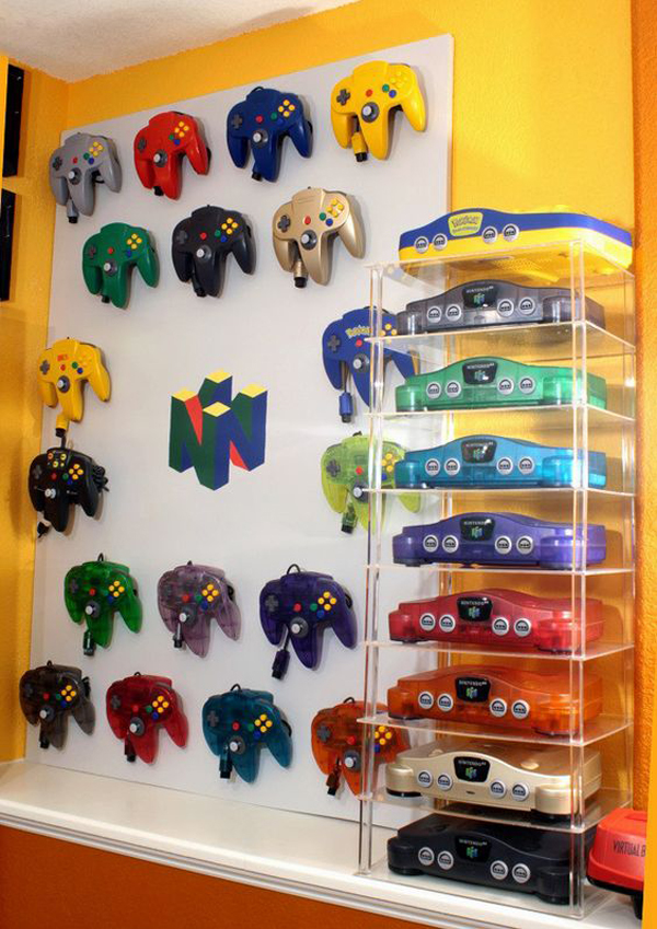colorful video game controller storage ideas