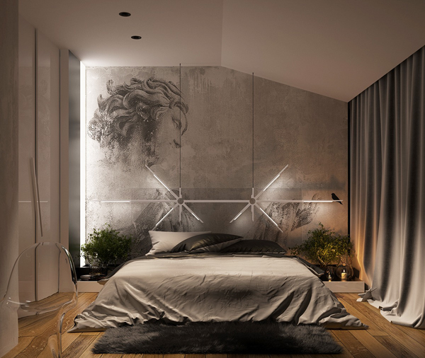 mesmerizing bedroom wall interior design | dramatic-bedroom-lighting-decor