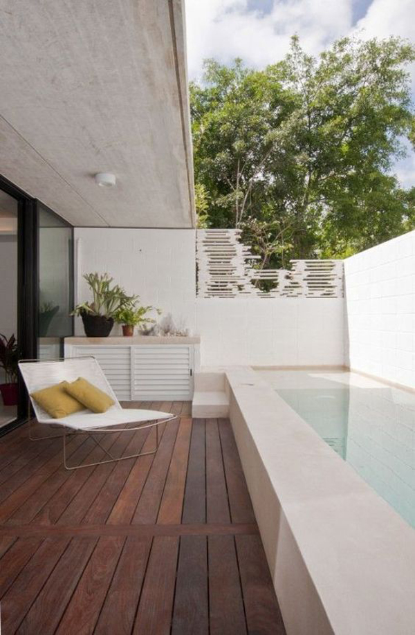 Minimalist swimming pool for small backyard Minimalist house design with pool