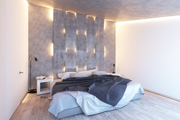 Textured Accent Wall : Modern bedroom lighting with textured accent wall