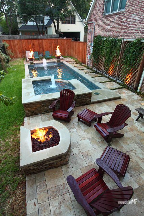 Small Fire Pit Patio Set: Narrow-backyard-pool-with-firepit