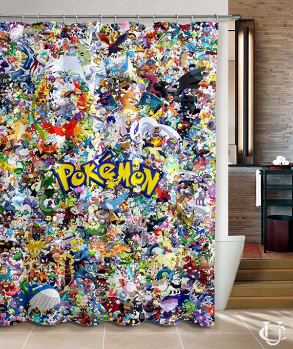 It S Hard Not To Fall In Love With This Pokemon Shower Curtain Unique And Colorful Design Complete With A Variety Of Pokemon Characters