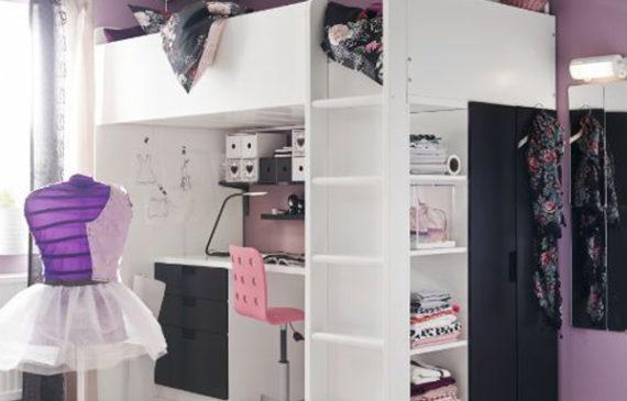 purple-IKEA-loft-bed-for-little-girls