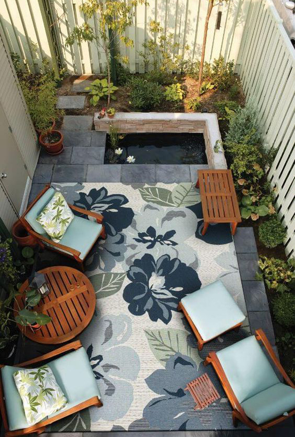 20 lovely backyard ideas with narrow space home design for Small outdoor patio areas