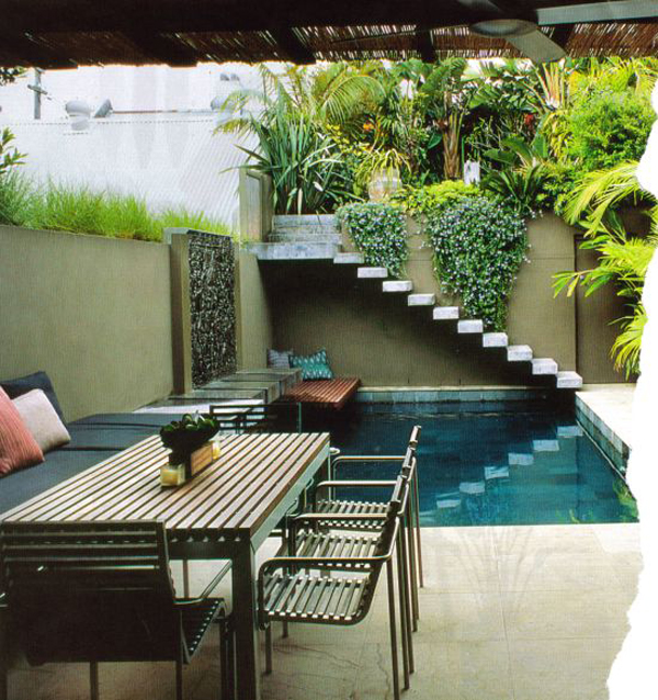 Small backyard pool and dining areas for Small outdoor patio areas