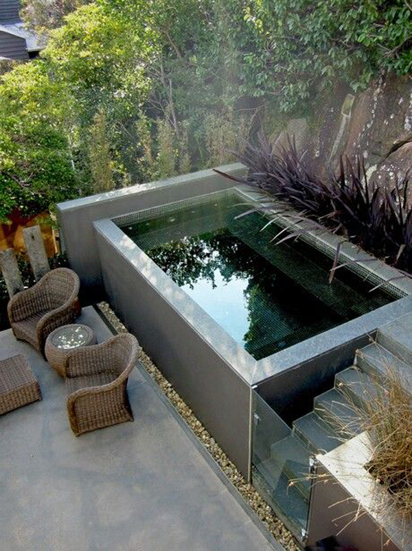 small plunge pool for small backyard. Black Bedroom Furniture Sets. Home Design Ideas