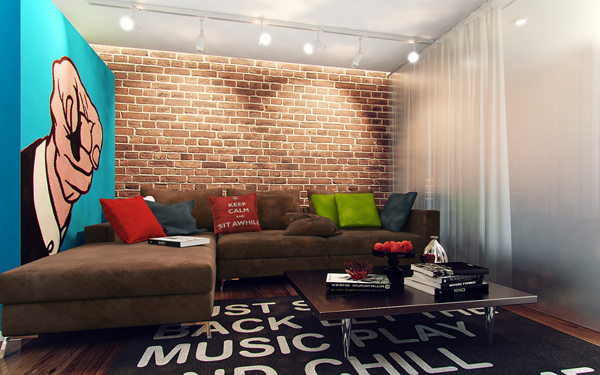 Studio Apartment With Pop Art Interior Home Design And