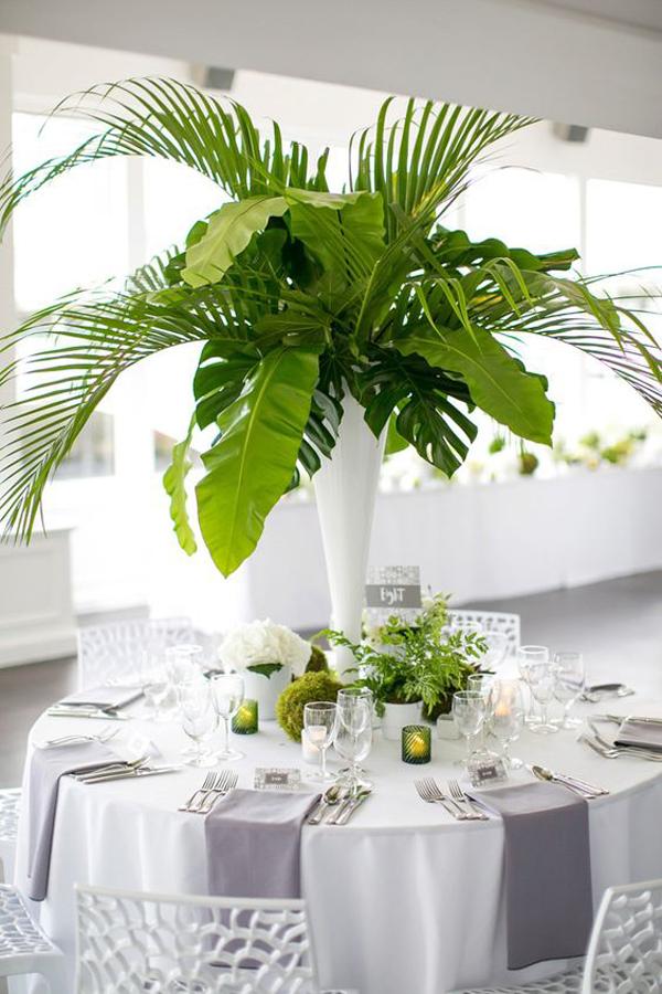 Tropical Leaf Table Centerpieces